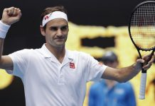 Roger Federer celebrating win in Australian Open Championship at Melbourne.