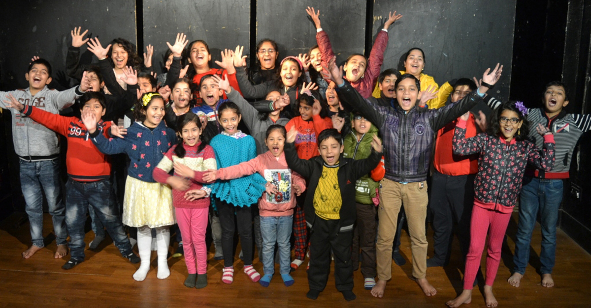 Jubilant children at Natrang's Winter Theatre Workshop-2019 in Jammu on Tuesday.