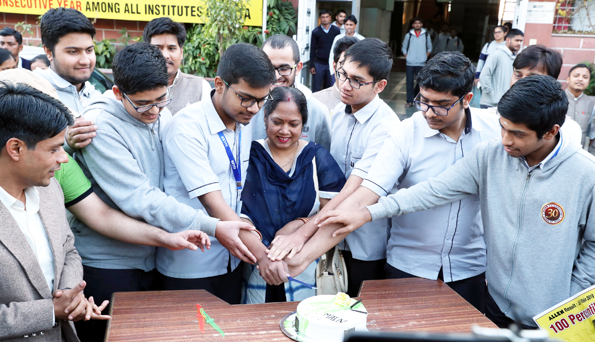 Students of ALLEN Career Institute celebrating excellence in JEE Main 2019.
