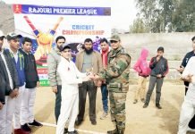 Man of the Match award winner being felicitated by Army in Rajouri.