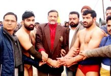 Winner of 17th Dhara-Ardhan Dangal Title being felicitated in Jammu.