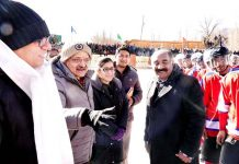 Chief Secretary, BVR Subrahmanyam during inauguration of National Ice Hockey Championship in Leh.