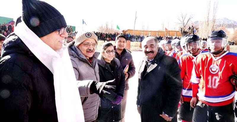 Chief Secretary, BVR Subrahmanyam during inauguration of National Ice Hockey Championship in Leh.
