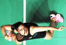Acrobatic Saina Nehwal in action during a match against Okuhara in Maslaysia Masters at Kualalumpur.