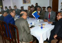 Governor Satya Pal Malik chairing a meeting on Wednesday.