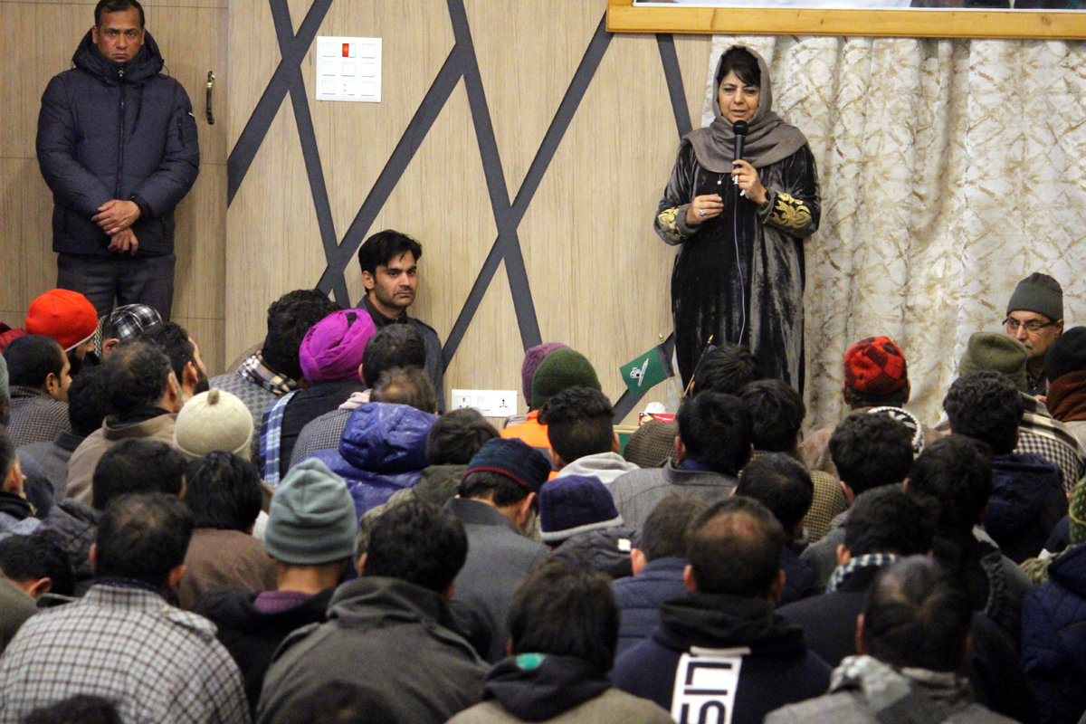 Former CM & PDP chief Mehbooba Mufti addressing party workers in Rajpora Pulwama on Thursday.