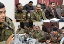 IGP Jammu Zone MK Sinha briefing officers during meeting to review security arrangements for Republic Day at Jammu on Saturday.