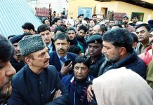 Leader of Opposition in Rajya Sabha, Ghulam Nabi Azad during visit to Bhadarwah on Wednesday.