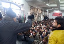 NC president Dr Farooq Abdullah addressing party workers at Anantnag on Saturday. —Excelsior/Sajad Dar