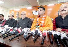 BJP leaders at a press conference at Jammu on Tuesday. -Excelsior/Rakesh