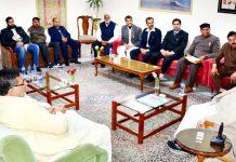 Governor Satya Pal Malik meeting a delegation of All India Jat Maha Sabha on Monday.