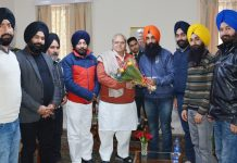 A delegation calling on Governor Satya Pal Malik on Saturday.
