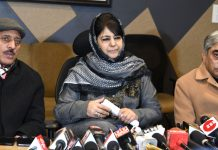 PDP President Mehbooba Mufti addressing a press conference in Srinagar. — Excelsior/Shakeel