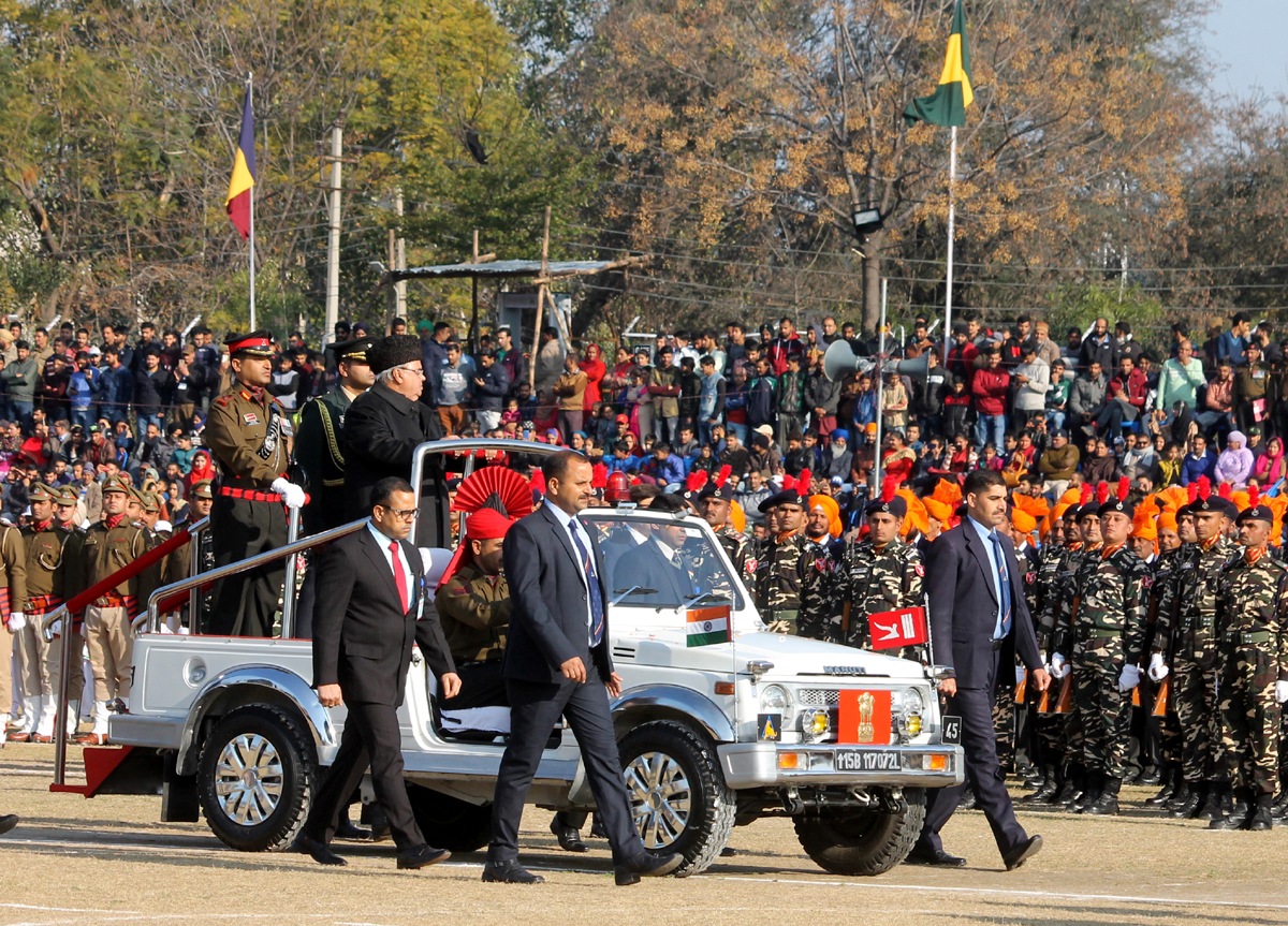 Governor Satya Pal Malik inspecting Republic Day parade in Jammu. — Excelsior/Rakesh