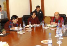 Chief Secretary BVR Subrahmanyam chairing a meeting with ECs of LAHDC at Leh on Friday.