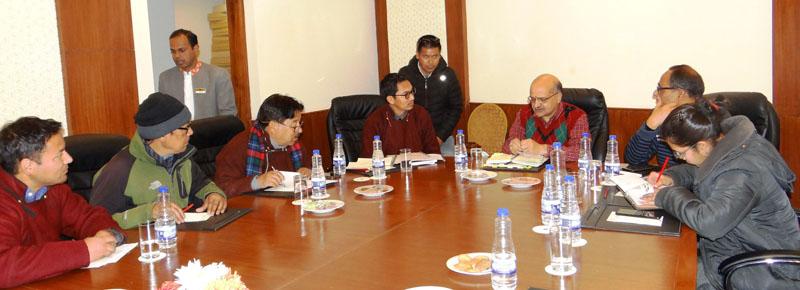 Chief Secretary BVR Subrahmanyam chairing a meeting with ECs of LAHDC at Leh on Friday.