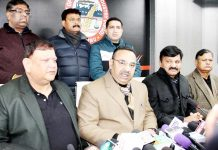 JCCI president Rakesh Gupta addressing press conference in Jammu on Monday. -Excelsior/Rakesh