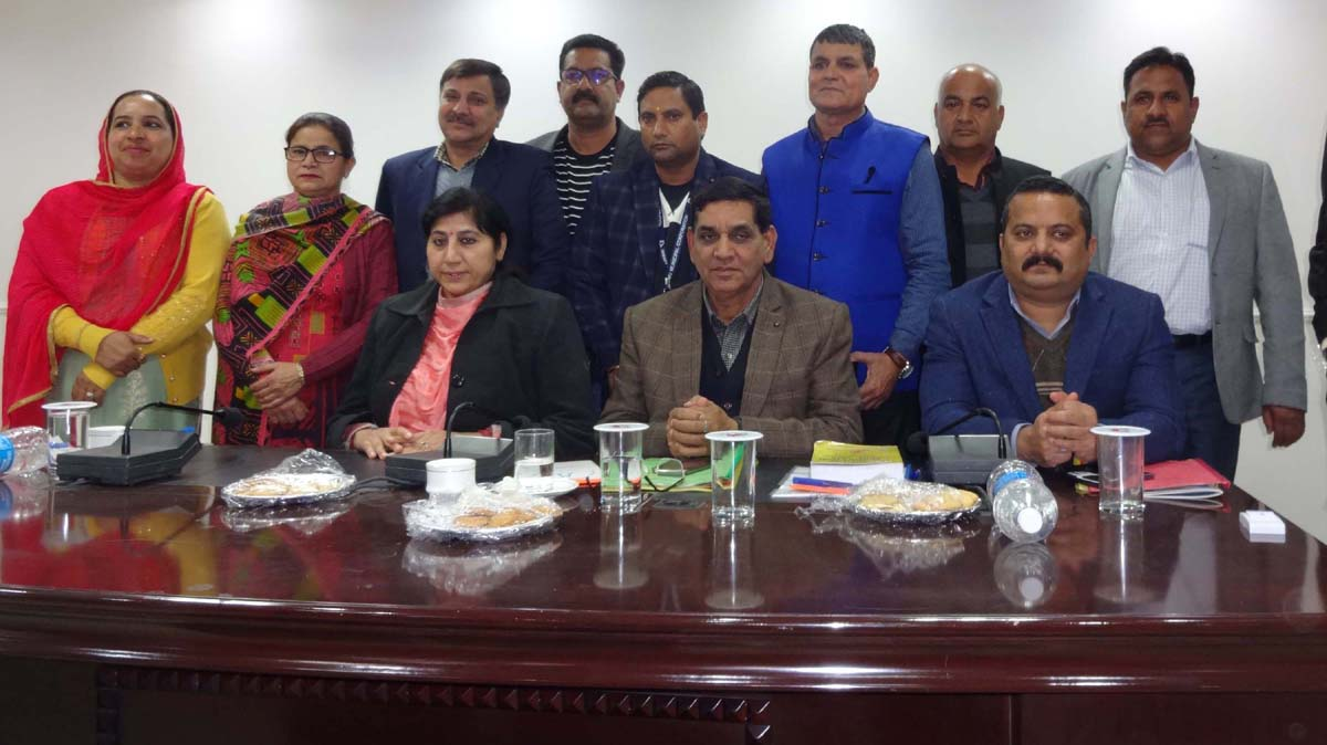 JMC Mayor, Dy Mayor and Commissioner alongwith newly elected members of one of the Standing Committees after declaration of results on Wednesday.