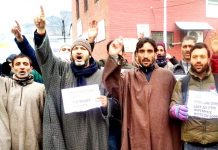 Baramulla aspirants during a protest demonstration in Srinagar on Monday. -Excelsior/Shakeel