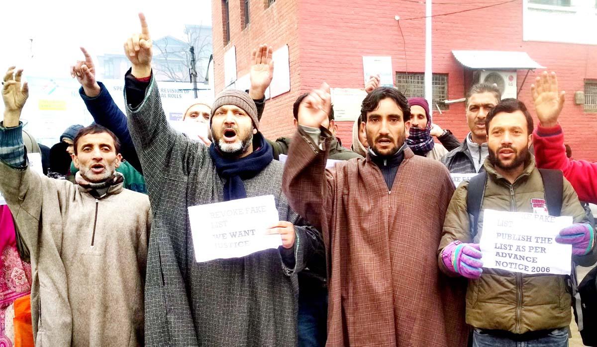 Baramulla aspirants during a protest demonstration in Srinagar on Monday. -Excelsior/Shakeel