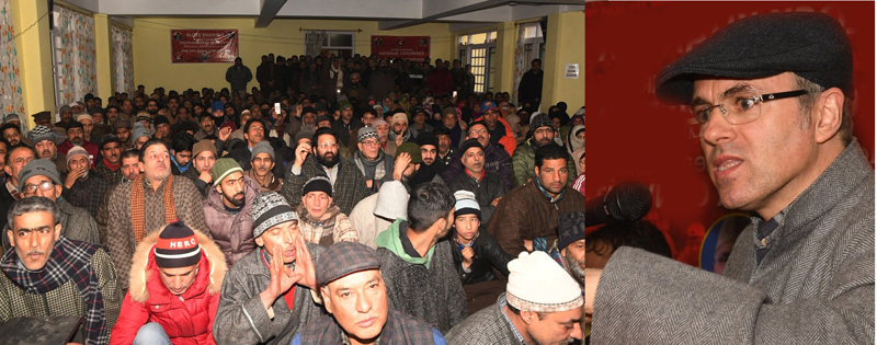 Former CM and National Conference vice president Omar Abdullah addressing party workers at Khanyar on Wednesday.