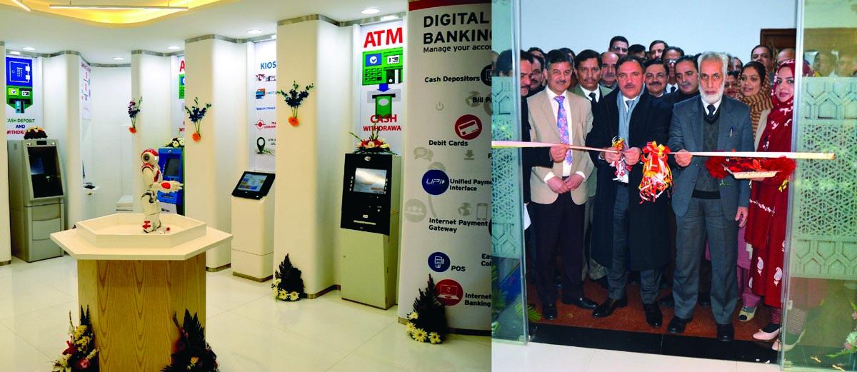 JKB Chairman inaugurating digital banking lobby at Srinagar on Wednesday.