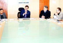 Advisor K Vijay Kumar chairing a meeting on Tuesday.