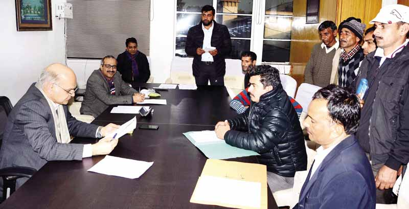 Advisor K K Sharma being briefed by officers on Jammu, Srinagar Sewerage Projects on Tuesday.