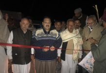 NC Provincial President Devender Singh Rana inaugurating road on Friday.