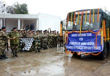 IG BSF Jammu, N.S Jamwal flagging-off 'Bharat Darshan' tour for children of remote border areas in Jammu.