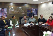 JMC Mayor, Chander Mohan Gupta chairing a meeting at Jammu on Wednesday.