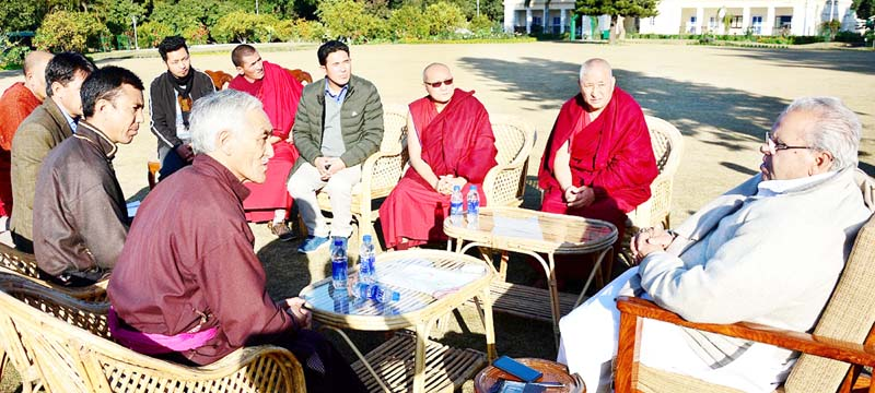 A delegation from Zanskar at a meeting with Governor S P Malik in Jammu on Sunday.