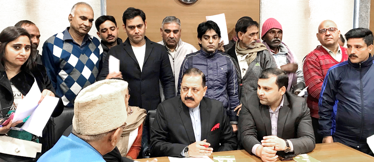 Union Minister Dr Jitendra Singh meeting public deputations at BJP Central Office, New Delhi on Wednesday.