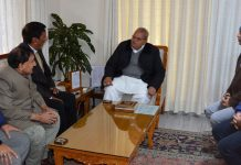 Governor Satya Pal Malik meeting a delegation led by Qamar Ali Akhoon on Wednesday.