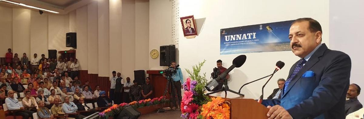 Union Minister Dr Jitendra Singh addressing the inaugural session of ISRO's UNNATI programme, at Bengaluru on Thursday.