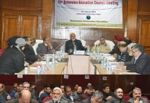 Vice Chancellor SKUAST-J Prof Pradeep K Sharma and others during 10th Extension Education Council meeting.