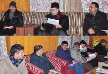 MP Muzaffar Hussain Baig chairing officers meeting at Baramulla on Monday.