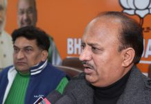 BJP State vice president, Dr D K Manyal and Party spokesperson Balbir Ram Rattan at press conference at Jammu on Wednesday. — Excelsior/Rakesh