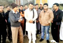 Ex-MLA R S Pathania during tour of far-flung areas of Ramnagar.