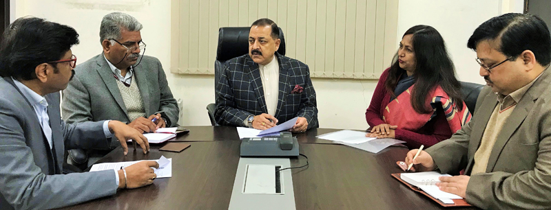 Union Minister Dr Jitendra Singh being briefed by a team of National Informatics Centre (NIC), at New Delhi on Thursday.