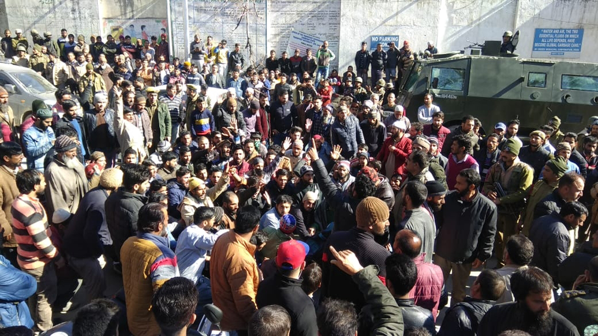 People raising slogans during protest in District Doda. -Excelsior/Tilak Raj