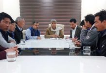 BJP leaders from Ladakh during a meeting with State leadership at Jammu on Friday.