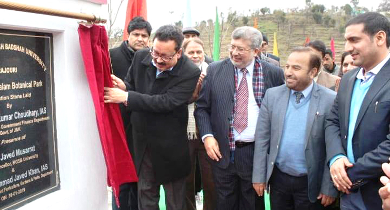 Principal Secretary Finance Navin Choudhary laying foundation stone of APJ Abdul Kalam Botanical Park in Rajouri on Wednesday.