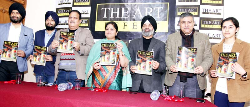 Former Minister, Priya Sethi along with other guests releasing monthly news magazine 'The Art Effect' in Jammu on Sunday. -Excelsior/Rakesh