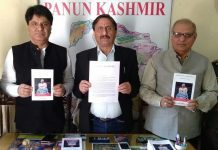 PK leaders releasing copy of resolution at Jammu on Friday.