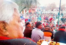 Former Minister Ajay Sadhotra addressing public meeting at Kalase Chak in Marh block of Jammu.
