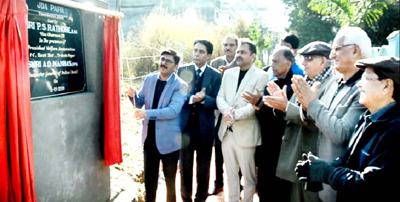 VC JDA, PS Rathore, laying foundation stone of JDA Park at Trikuta Nagar in Jammu.