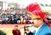 Manmohan Choudhary addressing gathering at Jat Maha Sammelan in Jammu on Sunday.