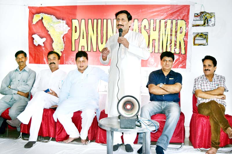 PK President, Ashwani Kumar Chrungoo addressing media at Jammu on Sunday.