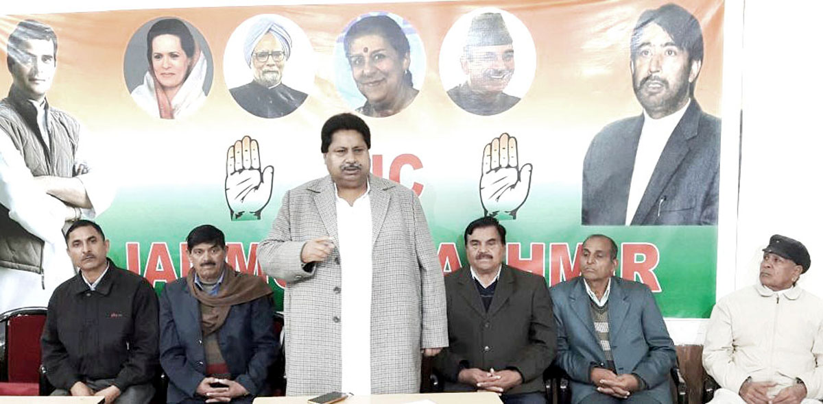 PCC vice president, Raman Bhalla addressing meeting of ex-servicemen in Jammu on Wednesday.